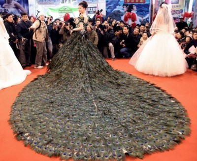 vestido de novia de plumas