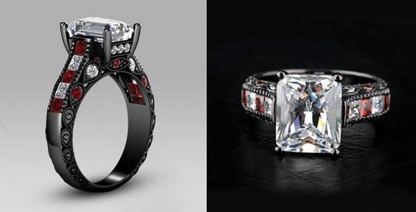 anillo de compromiso metal negro
