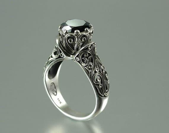 anillos de matrimonio diamante negro