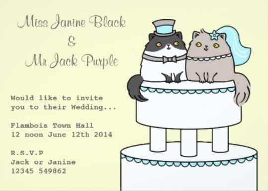 Invitacion de boda con gatos gordos