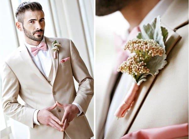 traje de novio beige con rosa