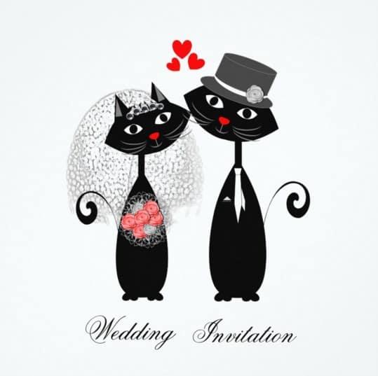 invitacion de boda con dos gatos negros