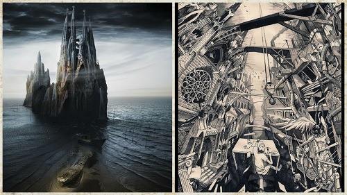 ilustraciones inspiradas en los artes góticos