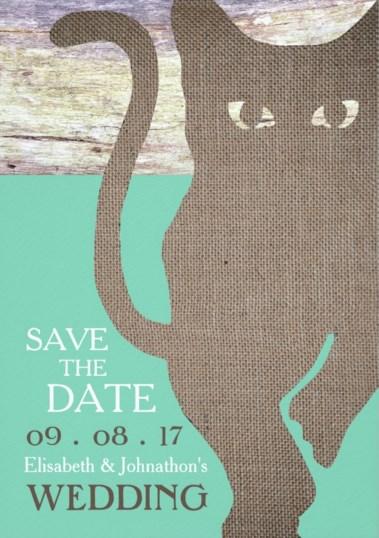 invitación de boda con gato negro