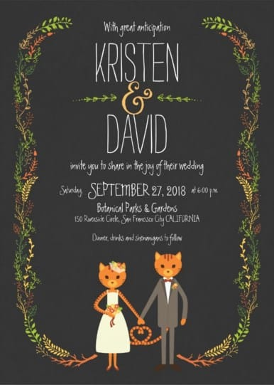 invitacion de boda con gatos naranja