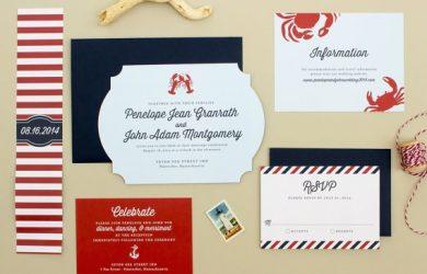 set de invitaciones de boda náuticas