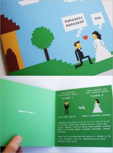 invitacion de boda estilo binario