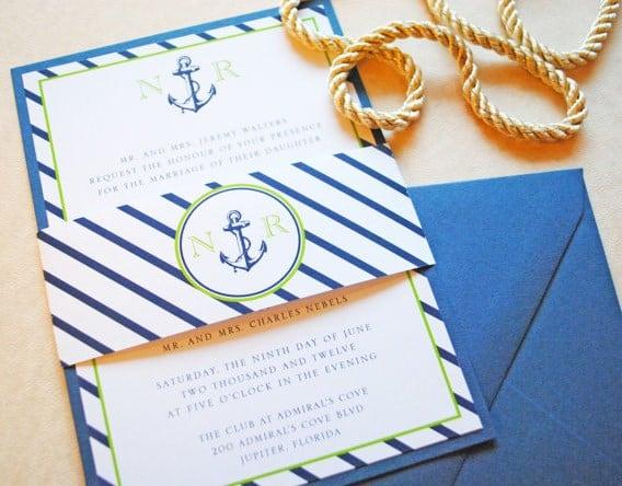 invitaciones de boda al estilo marino
