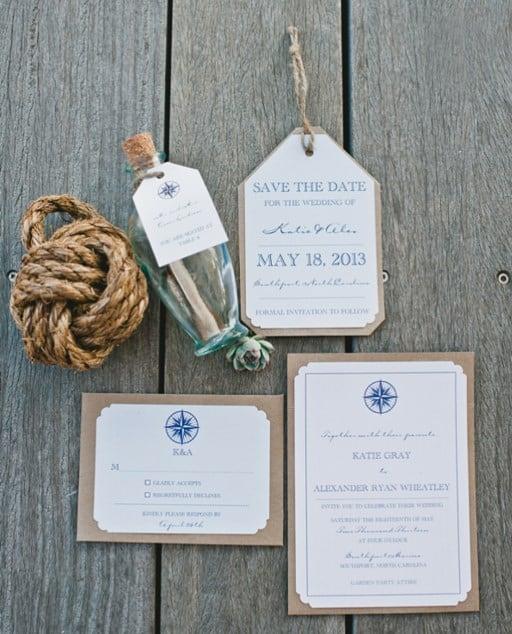 invitación náutica en botella