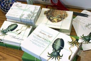 invitación de boda con animales mariscos