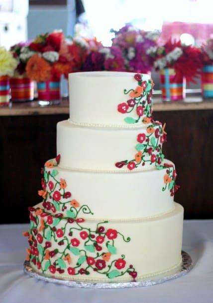 tarta vegana con flores