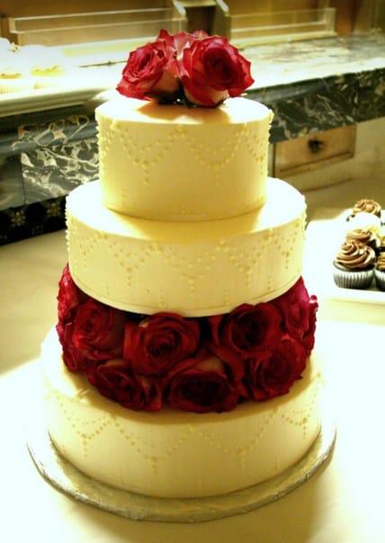 tarta vegana con rosas