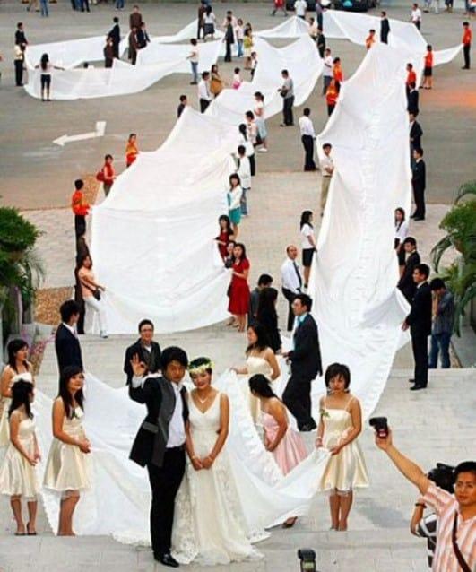 vestido de novia muy largo