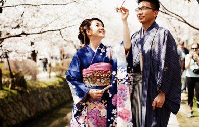Novios en kimono