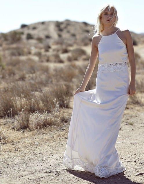 vestido de boda hippie de seda