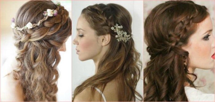 6 tendencias originales de peinados con trenzas para novias - Semirecogidos con trenzas ...