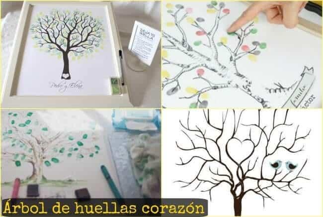 árbol de huellas corazón