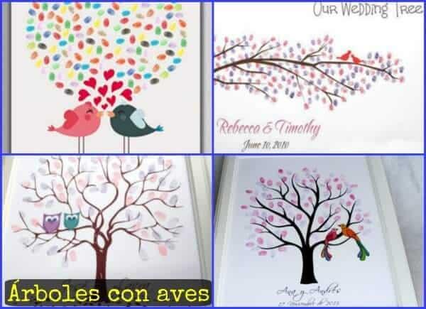 con aves en el lienzo