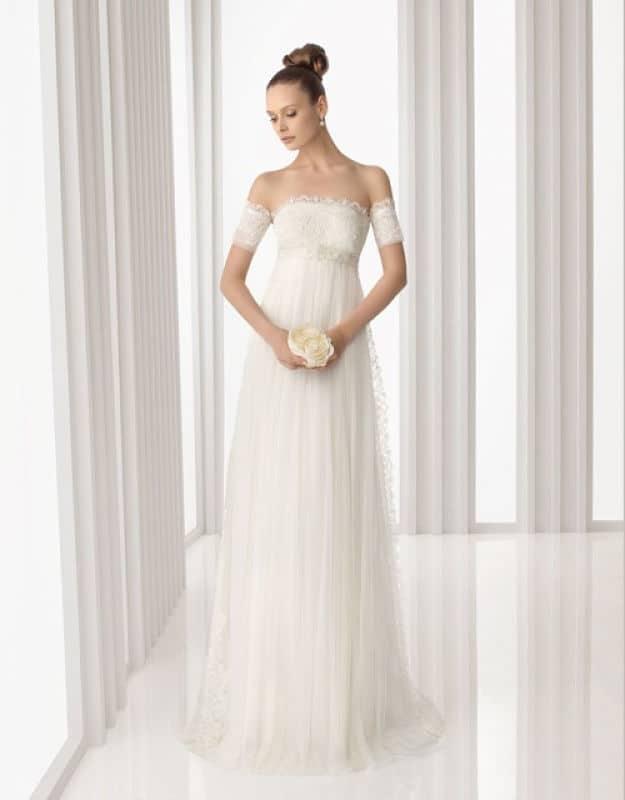 Vestido imperio en novia bajita