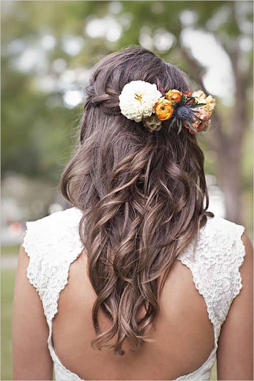 Semirecogido en pelo largo para novia