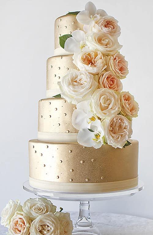 Tarta de boda dorada