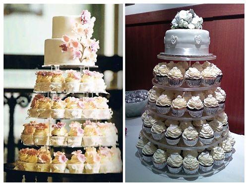 Tarta nupcial con cupcakes