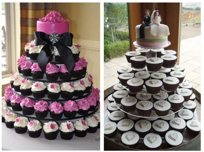 Tarta de bodas con cupcakes