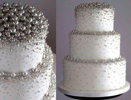 Tarta de bodas con plata