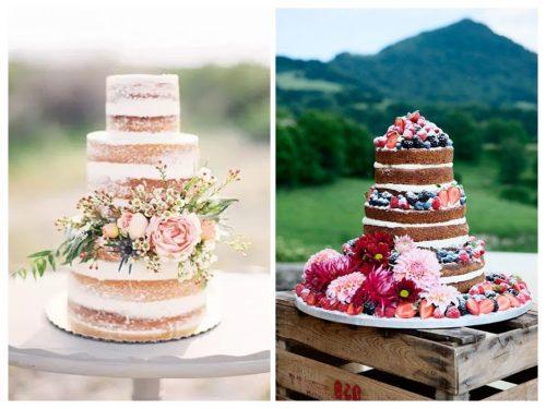Tartas de boda nacked cakes