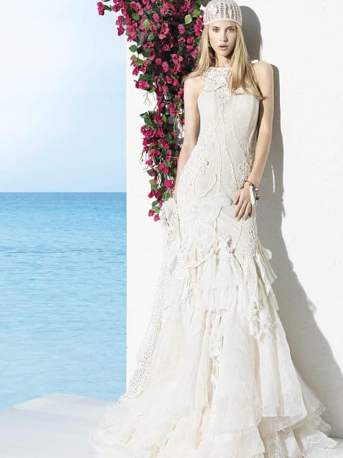 Vestido de novia con tela macramé