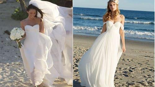 Vestidos de novia en la playa