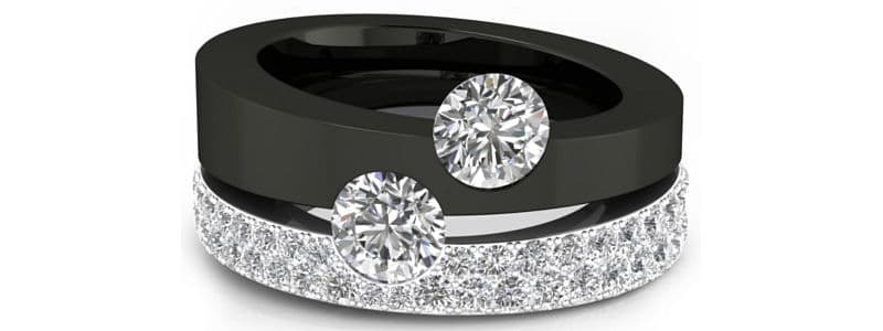 f2e300ec7779 Anillo de diamantes de oro brillante y negro. La combinación perfecta de  oro blanco de 18k bañado de rodio bajo el pavé de delicados diamantes.