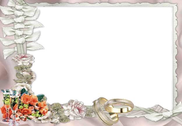 Alianzas boda con copas de champán