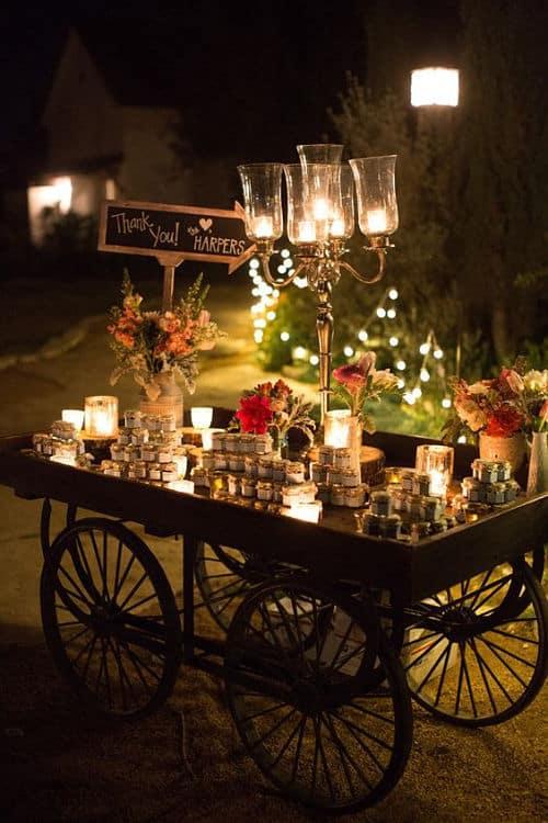 Carro chuches para boda nocturna