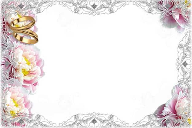 Cuadro flores horizontal con alianzas de boda