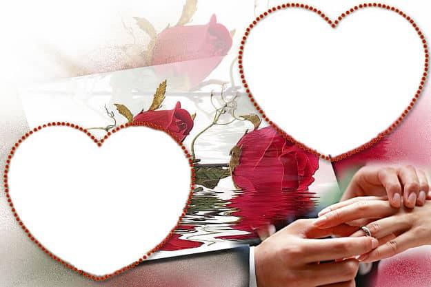 Dos corazones rosas rojas