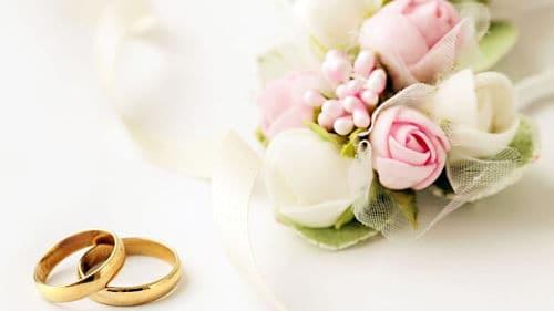 Flores y anillos para boda