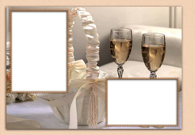 Hueco para fotos con copas de champán