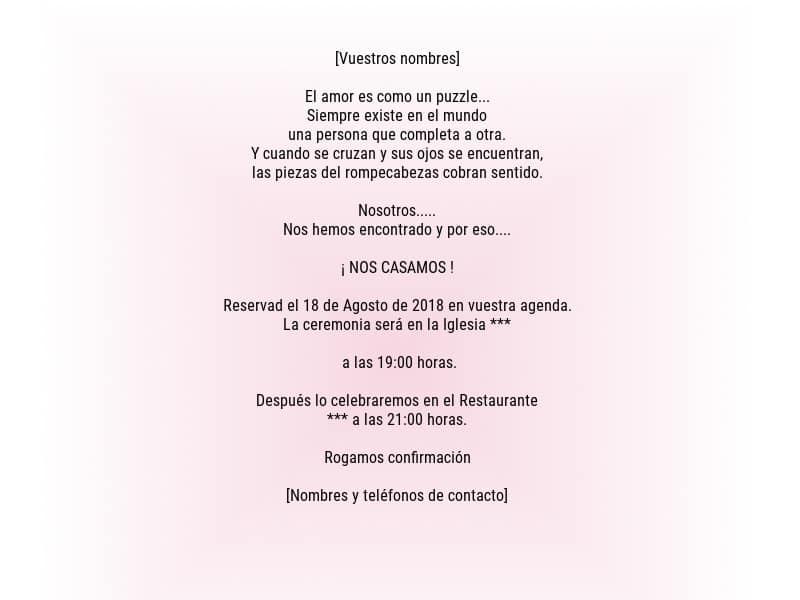 Formato Invitacion De Boda Saves Wpart Co