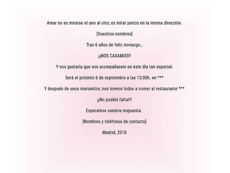 50 Textos De Ejemplo Para Invitaciones De Boda Originales