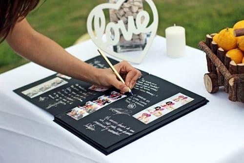 Firmas con fotos de los novios