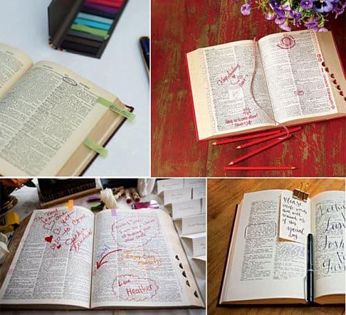 Diccionario firmado para boda