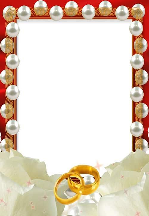 Marco perlas y alianzas de boda