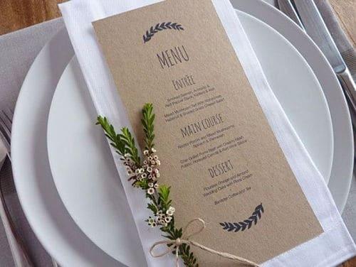 Minuta de boda clásica papel craft