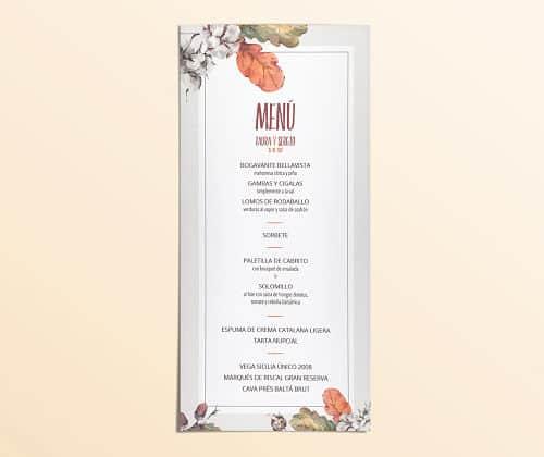 Minuta de boda clásica con decoración floral