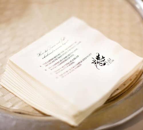 Minuta boda en servilletas de papel