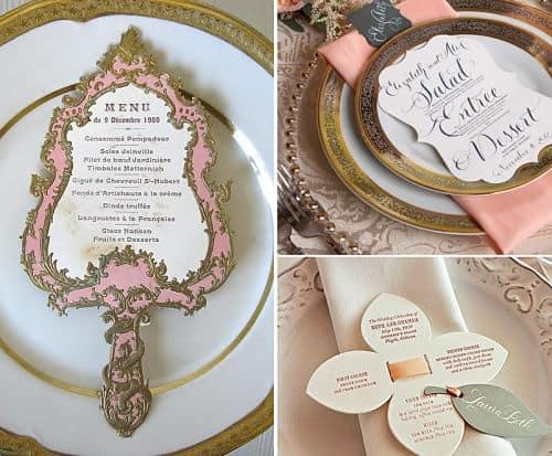 Minutas de boda con diseño