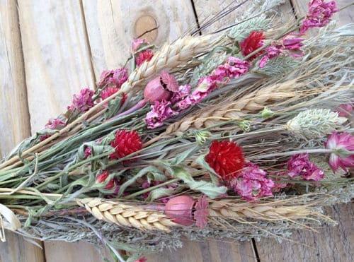 Ramo de novia con espigas de trigo