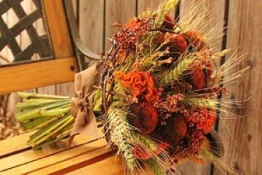 Ramo de novia con hojas secas