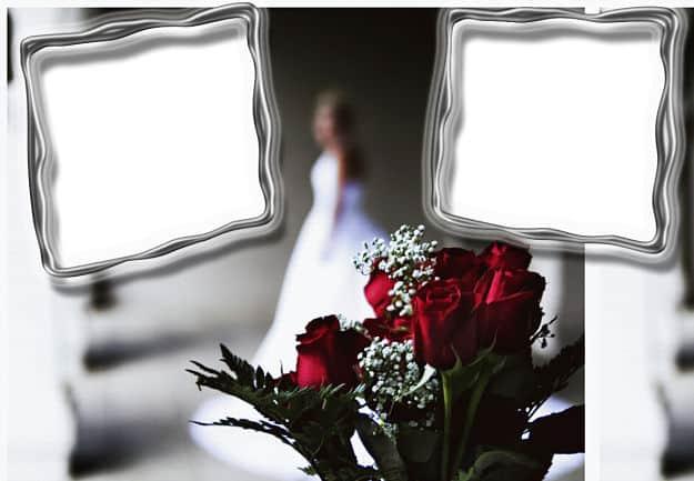 Ramo rosas rojas con dos marcos